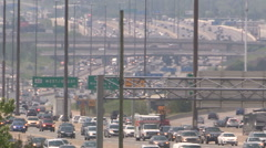 Toronto heat smog and highway traffic in the city Stock Footage