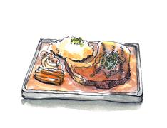 Steak sizzle in hot pan plate watercolor illustration Stock Illustration