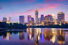 Austin, Texas, USA downtown skyline on the Colorado River. - stock photo