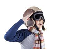 Cheerful boy wearing an aviator helmet Stock Photos