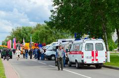 GOMEL, BELARUS - MAY 19, 2016: Ambulance crews at exhibition Spring in Gomel Stock Photos