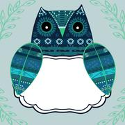 Cute owl with ethnic ornament text box Stock Illustration