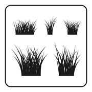 Grass bushes set black lawn - stock illustration
