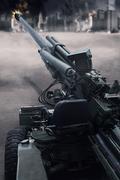 Military cannon in the battle Kuvituskuvat