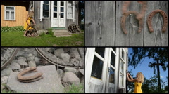 Woman decorate house with retro wheel and horse shoe. collage Stock Footage