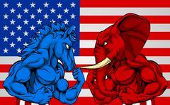Politics American Election Concept Donkey vs Elephant Stock Illustration