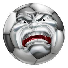 Angry Soccer Football Ball Sports Cartoon Mascot Stock Illustration