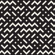 Vector Seamless Black And White Jumble ZigZag Lines Pattern Stock Illustration