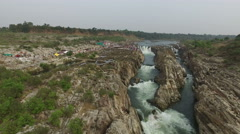Aerial view of the Dhuandhar falls in the Indian state of Madhya Prades, India Stock Footage
