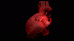 Animation of a human heart gyrating on black background Stock Footage