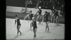 1967: Bulgaria team hula hoop (part 1 of 2) competition 3rd Women's Modern - stock footage