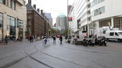 Time Lapse of Dutch Trams and Street Scene  -  Amsterdam Netherlands Stock Footage