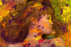 colorful artistic portrait woman in paint - stock photo