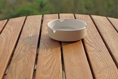 empty white ashtray - stock photo