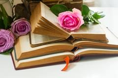 Old books with rose flower Stock Photos