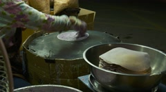 4k, Thai cotton candy pancake. Street food in Thailand. Close up Stock Footage