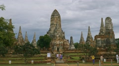 Tourists exploring Old Temple wat Chaiwatthanaram of Ayutthaya Province Stock Footage