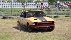 Cars destruction derby show competition - drift presentation of partisipant Stock Footage