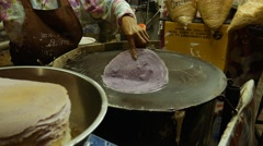 Thai cotton candy pancake. Street food in Thailand. Close up Stock Footage