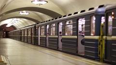 Subway train in Saint Petersburg metro Stock Footage