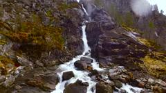 Flights over Norway cascade of waterfalls 6 Stock Footage