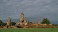 Old Temple wat Chaiwatthanaram of Ayutthaya Province Stock Footage