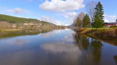 Flights over Norway  landscape big river 4 Stock Footage