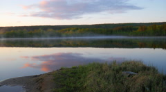 Panorama of a forest lake at sunset. Stock Footage