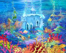Mysterious and Fantasy Undersea World. Underwater Castle. Piirros