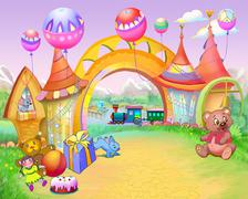 Fairy Tale Arch in Childhood Road - stock illustration