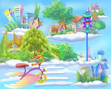Fairy Tale World with Floating Islands in the Sky - stock illustration