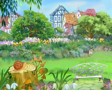 Colorful Fairy Tale Park in the City - stock illustration