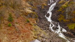Flights over Norway cascade waterfall 2 Stock Footage