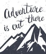Mountains exploration poster Stock Illustration