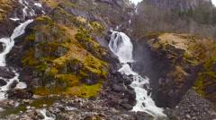 Flights over Norway cascade of waterfalls Stock Footage