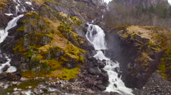 Flights over Norway cascade waterfall 4 Stock Footage