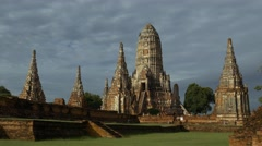 Old Temple wat Chaiwatthanaram of Ayutthaya Province Asia Thailand. Stock Footage