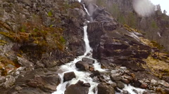 Flights over Norway cascade waterfall 6 Stock Footage