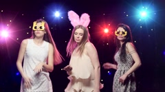 Girls at bachelorette party dancing and having fun Stock Footage