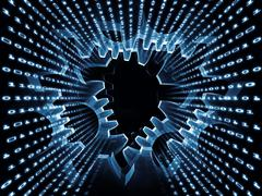 Processing Digital Gears - stock illustration