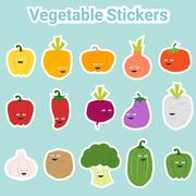 Set of funny vegetable stickers - stock illustration