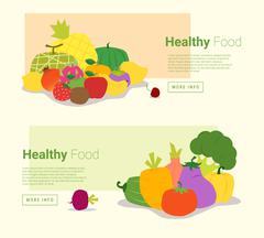 Healthy food banner with fruits and vegetables Stock Illustration