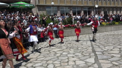 Bulgarian folklore dancers during the traditional folklore festival Stock Footage