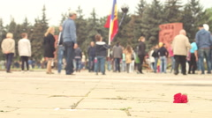 Little boy with Moldovan flag in the crowd Stock Footage