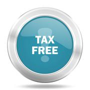 tax free icon, blue round metallic glossy button, web and mobile app design i - stock illustration