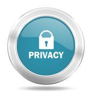Privacy icon, blue round metallic glossy button, web and mobile app design il Stock Illustration