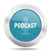 podcast icon, blue round metallic glossy button, web and mobile app design il - stock illustration