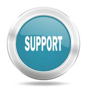 Support icon, blue round metallic glossy button, web and mobile app design il Stock Illustration
