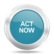 act now icon, blue round metallic glossy button, web and mobile app design il - stock illustration