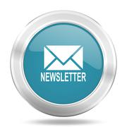newsletter icon, blue round metallic glossy button, web and mobile app design - stock illustration